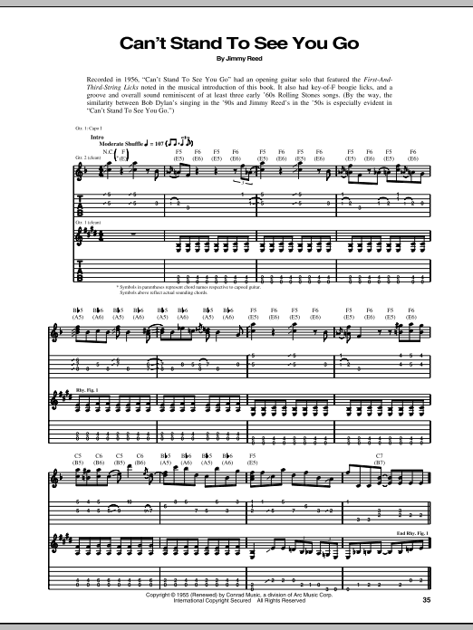 Download Jimmy Reed Can't Stand To See You Go sheet music and printable PDF score & Pop music notes