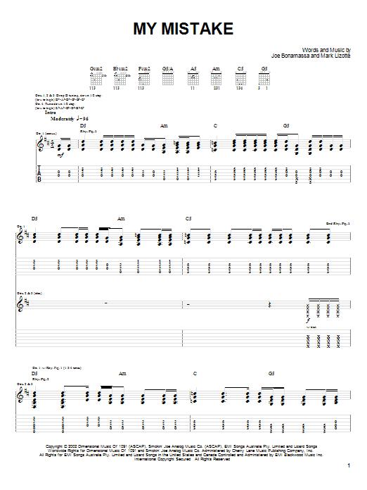 Download Joe Bonamassa My Mistake sheet music and printable PDF score & Pop music notes