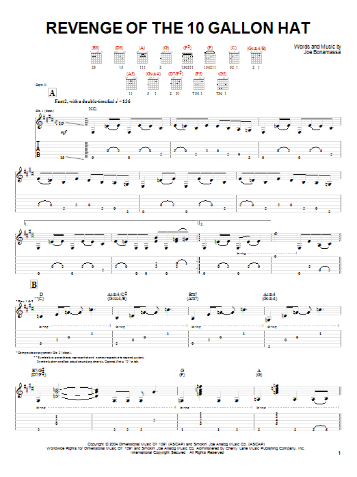 Download Joe Bonamassa Revenge Of The 10 Gallon Hat sheet music and printable PDF score & Pop music notes