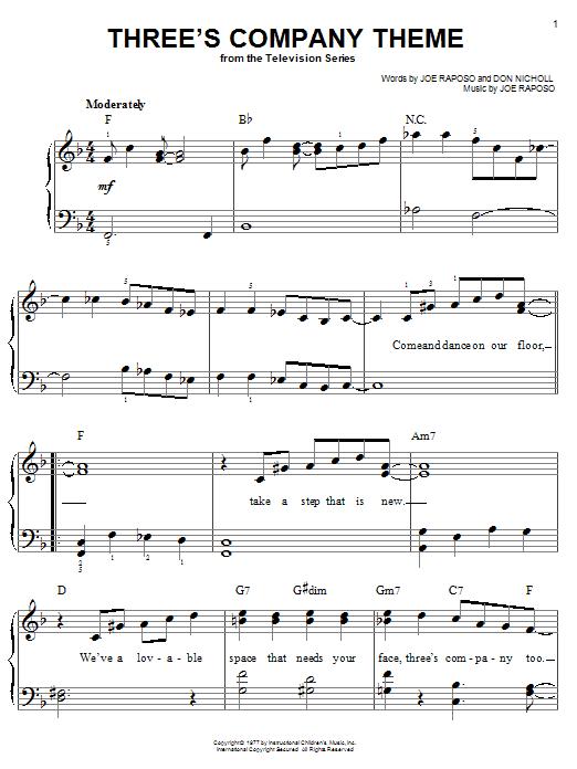 Download Joe Raposo Three's Company Theme sheet music and printable PDF score & Film and TV music notes