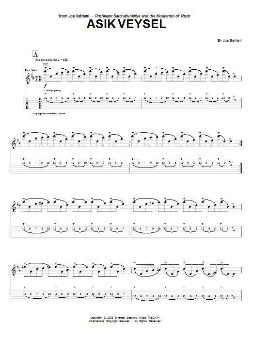 Download Joe Satriani Asik Veysel sheet music and printable PDF score & Pop music notes