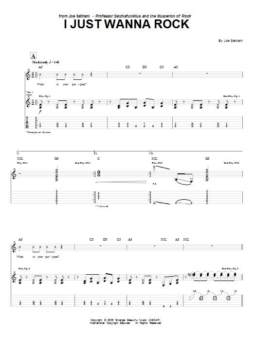 Download Joe Satriani I Just Wanna Rock sheet music and printable PDF score & Pop music notes