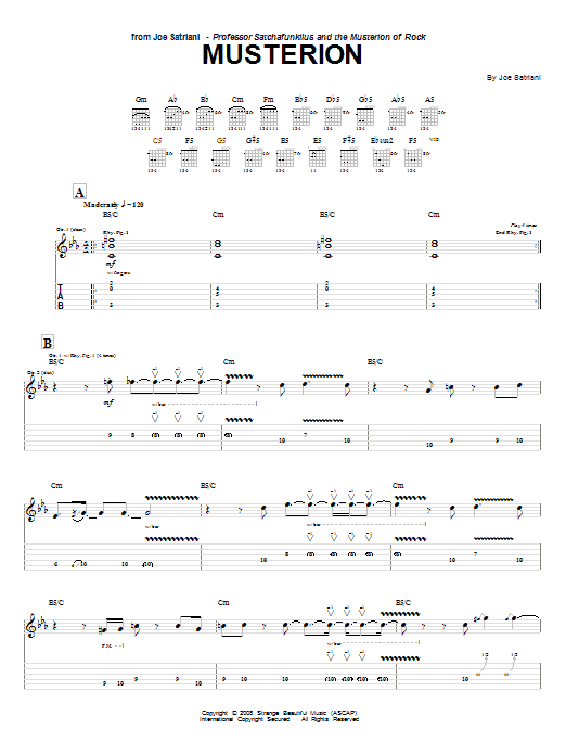 Download Joe Satriani Musterion sheet music and printable PDF score & Pop music notes