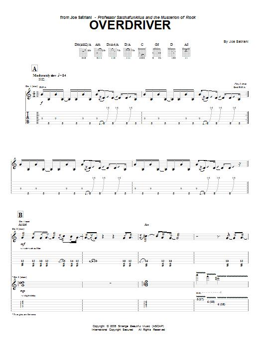 Download Joe Satriani Overdriver sheet music and printable PDF score & Pop music notes