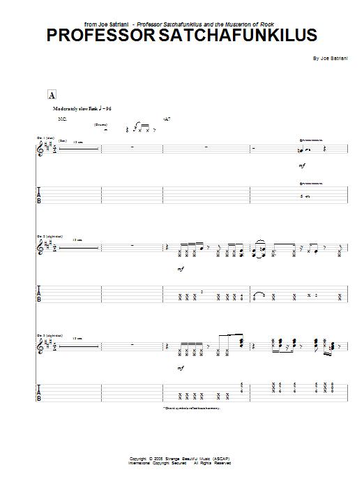 Download Joe Satriani Professor Satchafunkilus sheet music and printable PDF score & Pop music notes