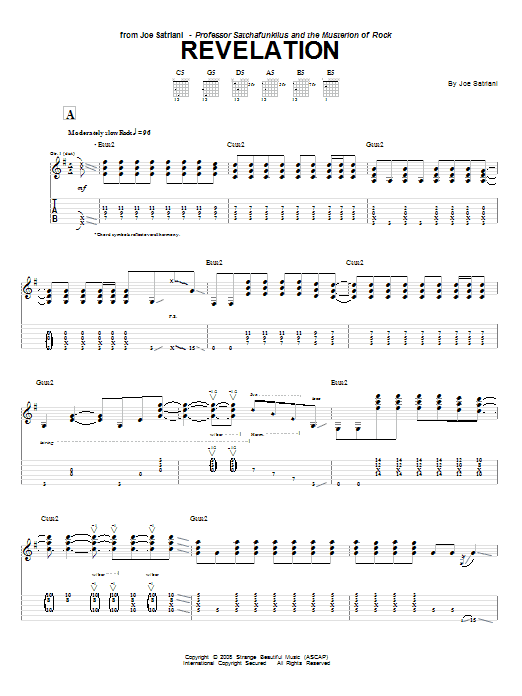 Download Joe Satriani Revelation sheet music and printable PDF score & Pop music notes