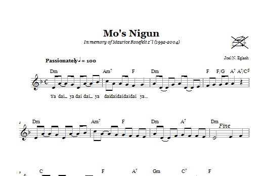 Download Joel N. Eglash Mo's Nigun (Wordless Melody) sheet music and printable PDF score & Religious music notes