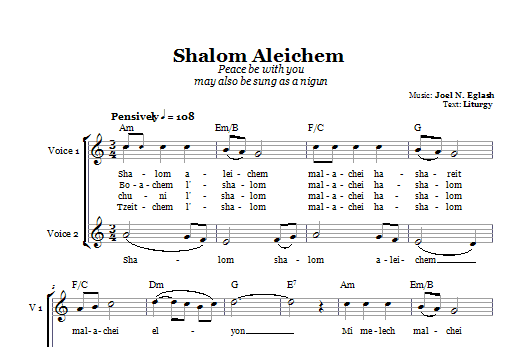 Download Joel N. Eglash Shalom Aleichem (Peace Be With You) sheet music and printable PDF score & Religious music notes
