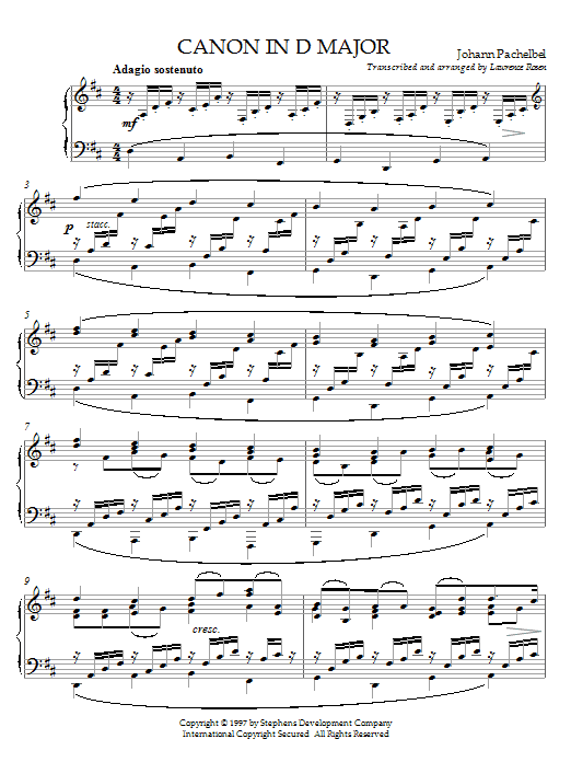 Download Johann Pachelbel Canon In D sheet music and printable PDF score & Classical music notes