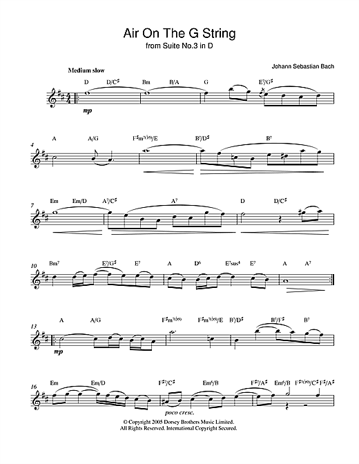 Download Johann Sebastian Bach Air On The G String (from Suite No.3 in D Major) sheet music and printable PDF score & Classical music notes