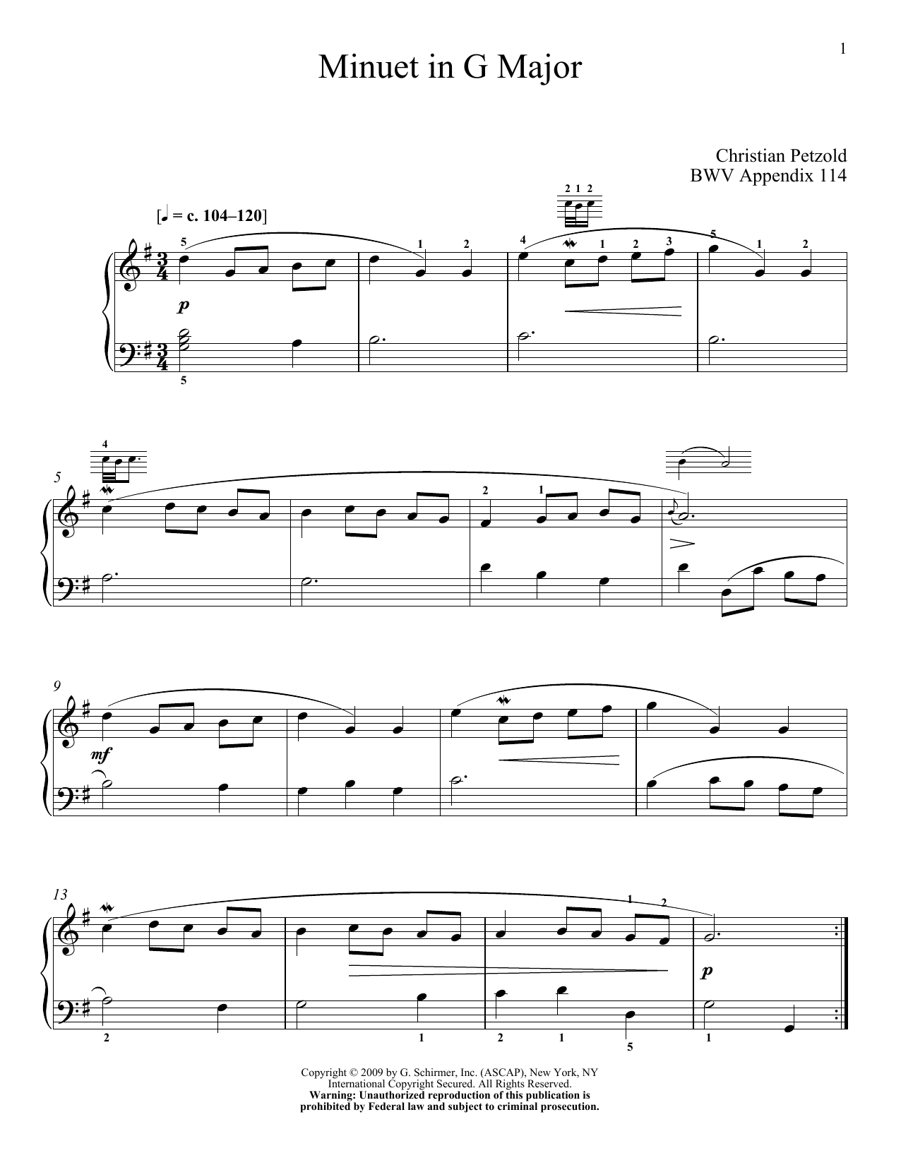 Download J.S. Bach Menuet In G Major, BWV App. 114 sheet music and printable PDF score & Classical music notes