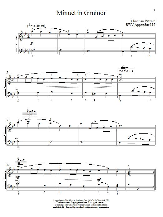 Download Johann Sebastian Bach Menuet In G Minor, BWV App. 115 sheet music and printable PDF score & Classical music notes