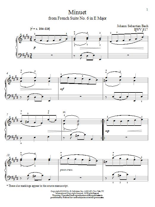 Download Johann Sebastian Bach Minuet, BWV 817 sheet music and printable PDF score & Classical music notes