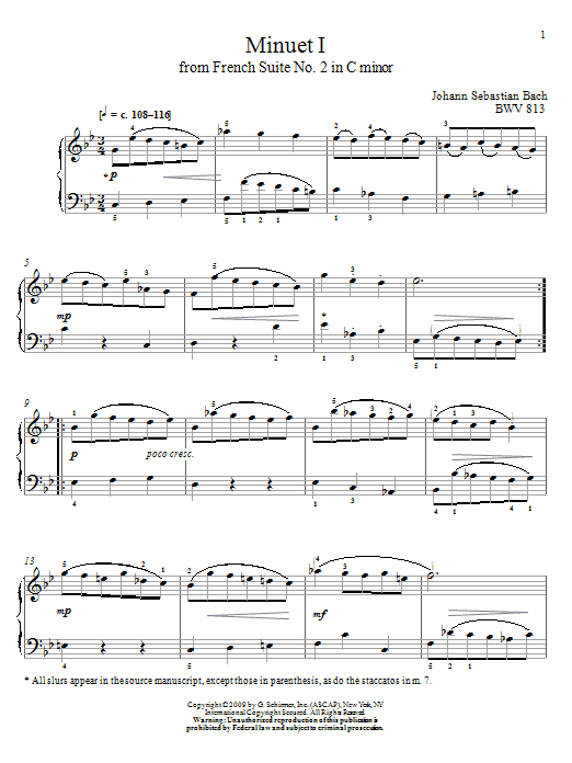Download Johann Sebastian Bach Minuet I, BWV 813 sheet music and printable PDF score & Classical music notes