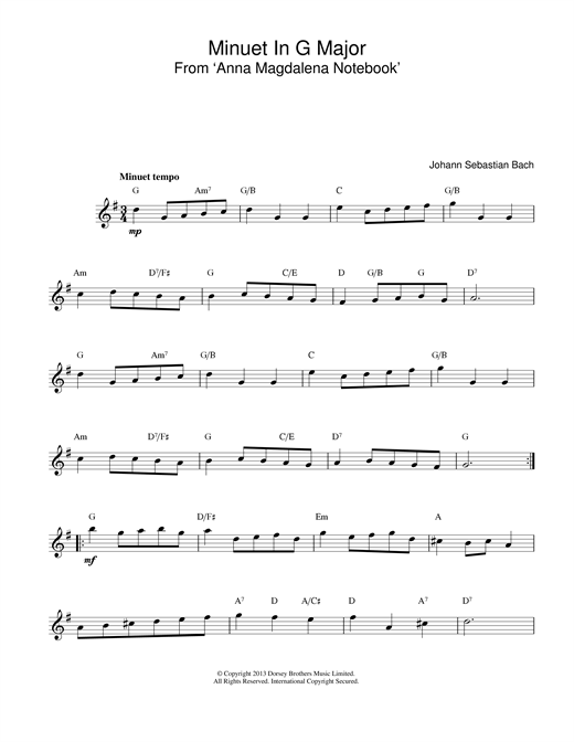 Download Johann Sebastian Bach Minuet In G sheet music and printable PDF score & Classical music notes