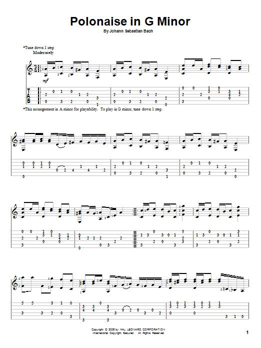 Download Johann Sebastian Bach Polonaise In G Minor sheet music and printable PDF score & Classical music notes