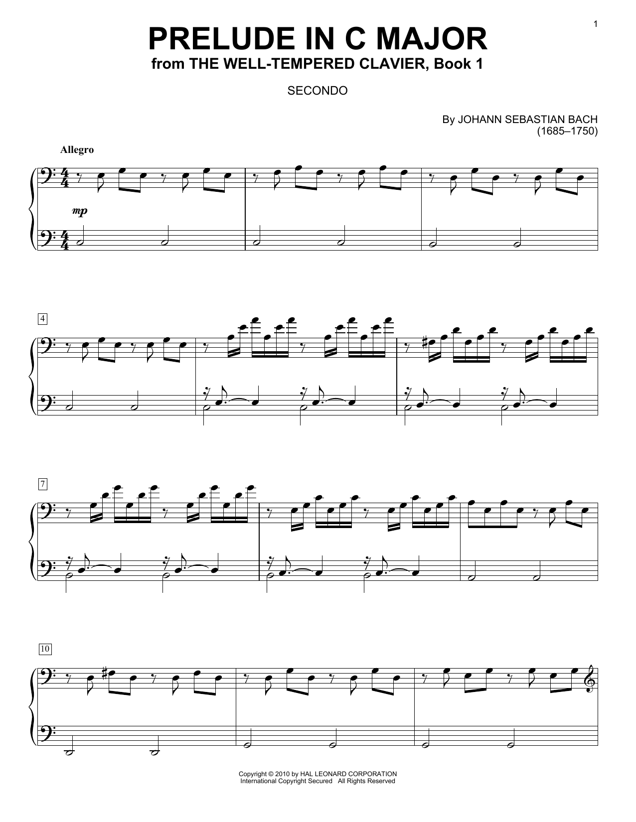 Download Johann Sebastian Bach Prelude in C Major sheet music and printable PDF score & Classical music notes