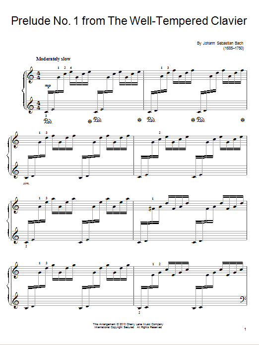 Download Johann Sebastian Bach Prelude and Fugue No. 1 in C Major (from The Well-Tempered Clavier Book I) sheet music and printable PDF score & Classical music notes