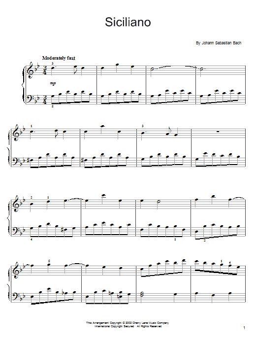 Download Johann Sebastian Bach Siciliano sheet music and printable PDF score & Classical music notes