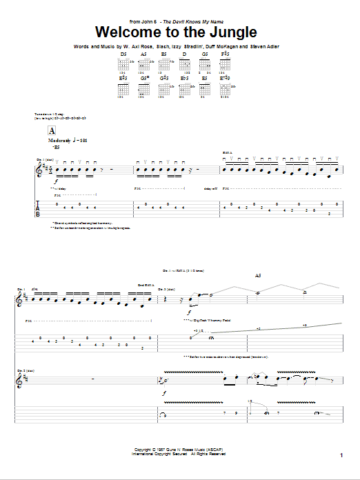 Download John 5 Welcome To The Jungle sheet music and printable PDF score & Pop music notes