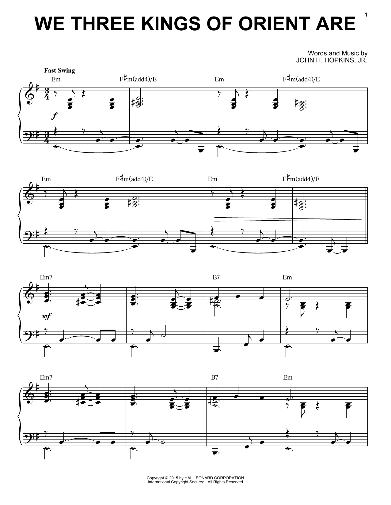 Download John H. Hopkins, Jr. We Three Kings Of Orient Are [Jazz version] (arr. Brent Edstrom) sheet music and printable PDF score & Winter music notes