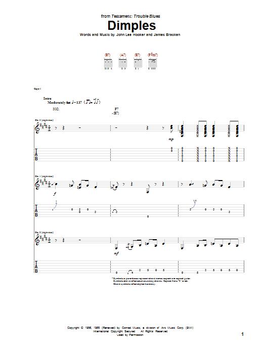 Download John Lee Hooker Dimples sheet music and printable PDF score & Jazz music notes