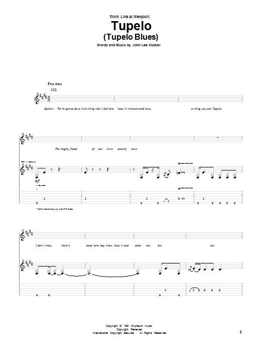Download John Lee Hooker Tupelo (Tupelo Blues) sheet music and printable PDF score & Pop music notes