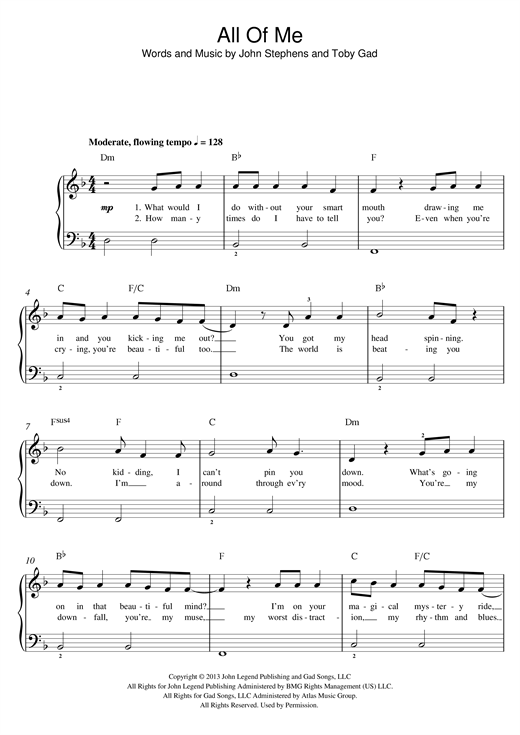 All Of Me Sheet Music Notes John Legend Chords Download Pop Notes Piano Big Notes Pdf Printable 169642