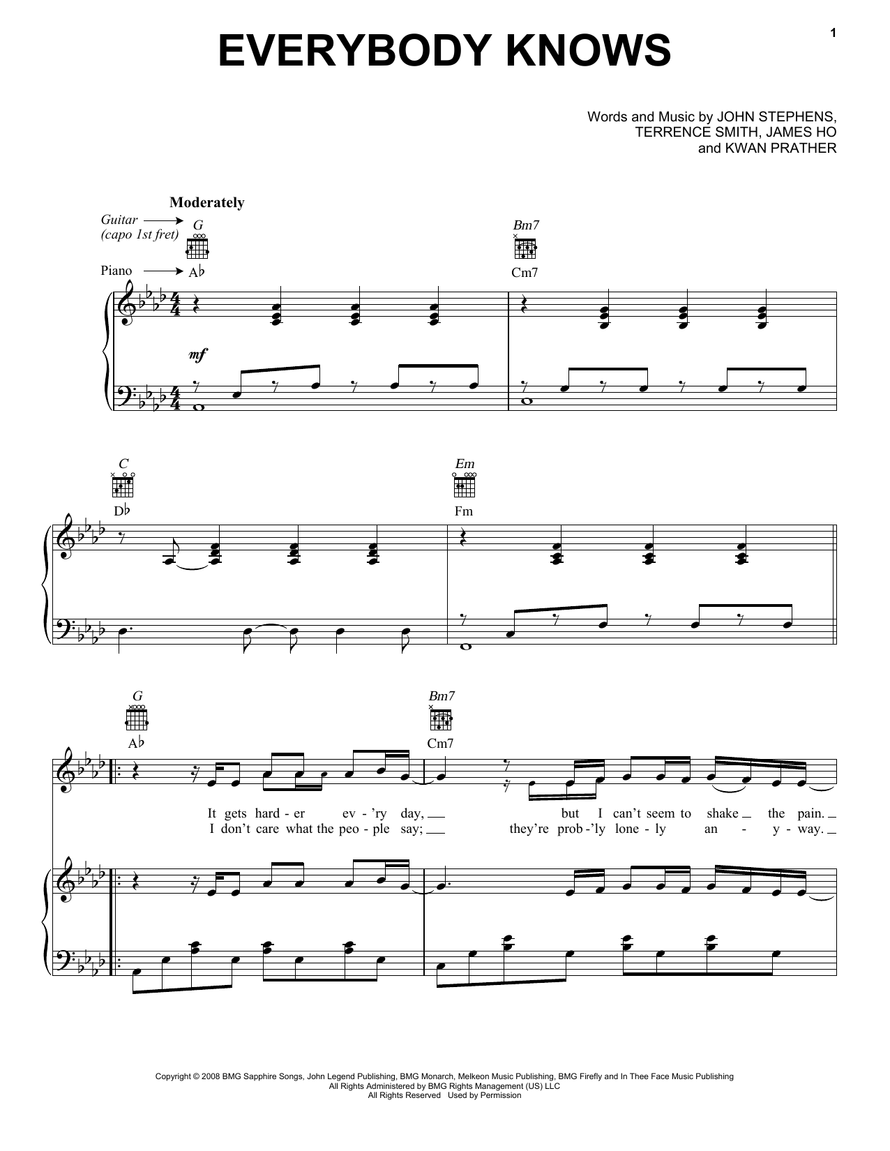 Download John Legend Everybody Knows sheet music and printable PDF score & Pop music notes