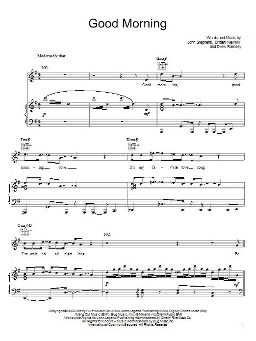 Download John Legend Good Morning sheet music and printable PDF score & Rock music notes