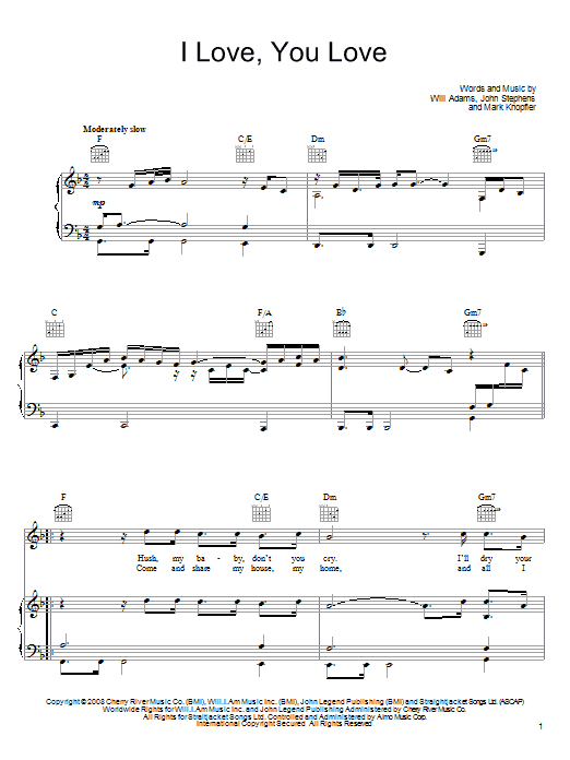 Download John Legend I Love, You Love sheet music and printable PDF score & Rock music notes