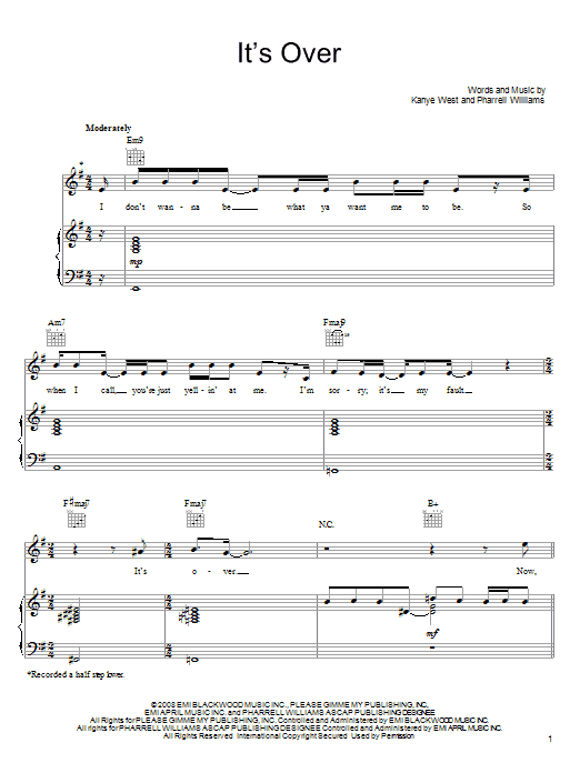 Download John Legend It's Over sheet music and printable PDF score & Rock music notes