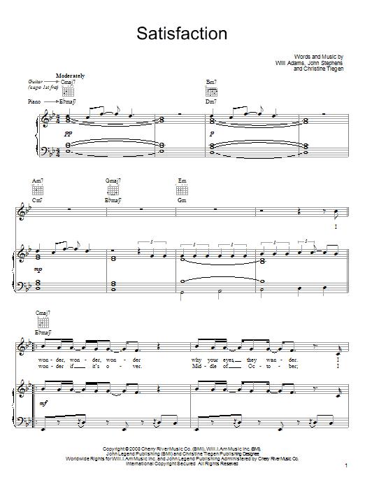 Download John Legend Satisfaction sheet music and printable PDF score & Rock music notes