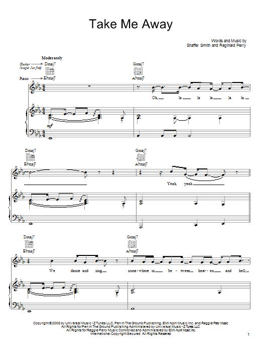 Download John Legend Take Me Away sheet music and printable PDF score & Rock music notes