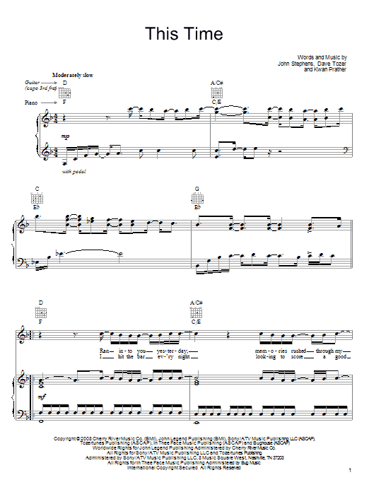 Download John Legend This Time sheet music and printable PDF score & Rock music notes