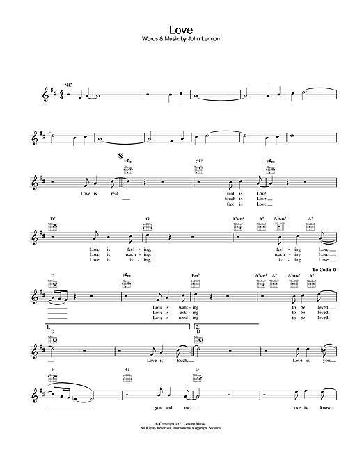 Download John Lennon Love sheet music and printable PDF score & Pop music notes
