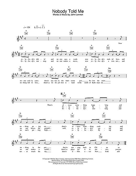Download John Lennon Nobody Told Me sheet music and printable PDF score & Pop music notes