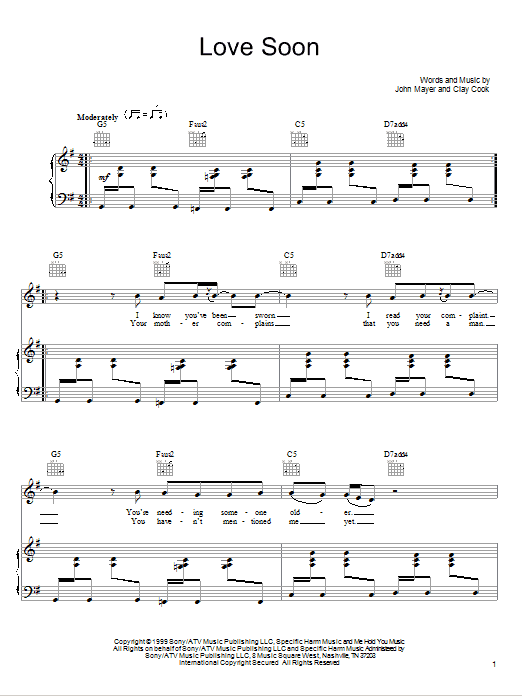 Download John Mayer Love Soon sheet music and printable PDF score & Rock music notes