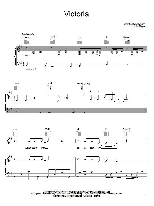 Download John Mayer Victoria sheet music and printable PDF score & Rock music notes