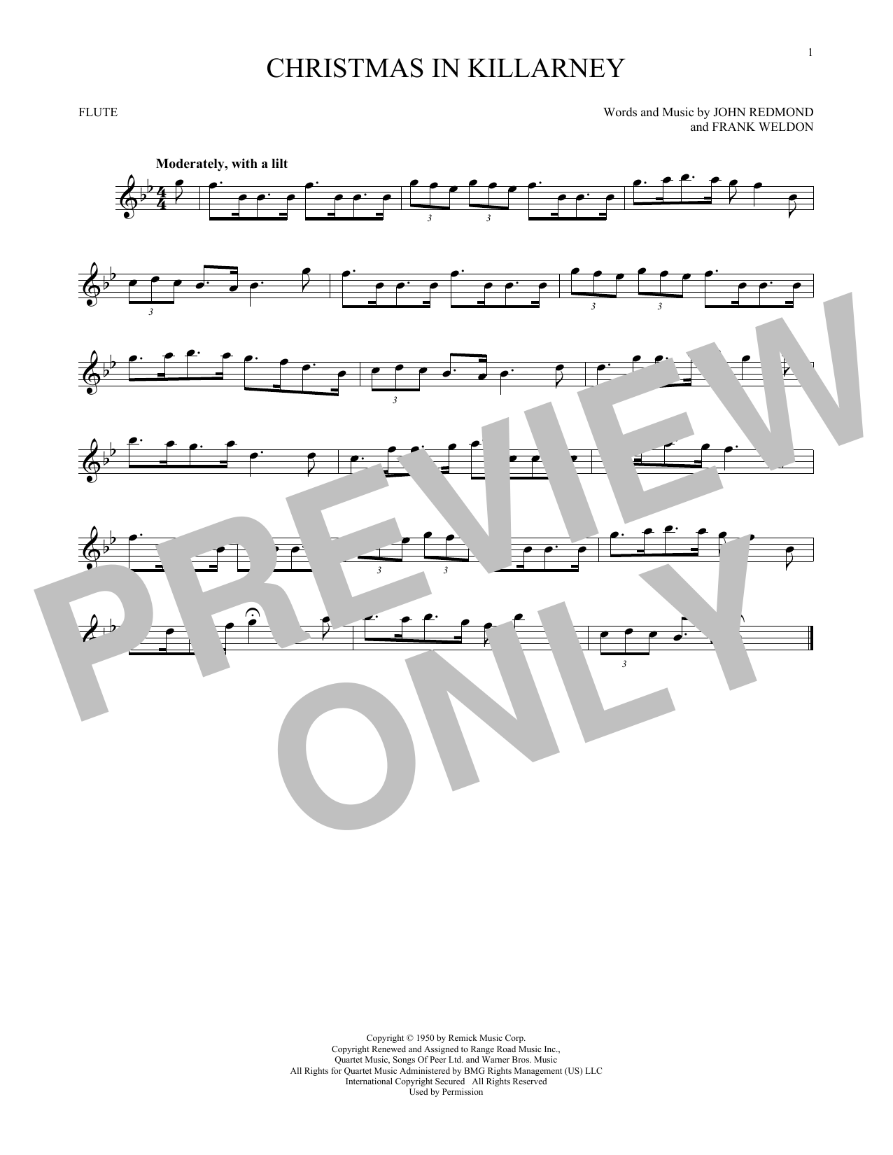 Christmas Trumpet Songs.John Redmond Frank Weldon Christmas In Killarney Sheet Music Notes Chords Download Printable Trumpet Solo Sku 418133