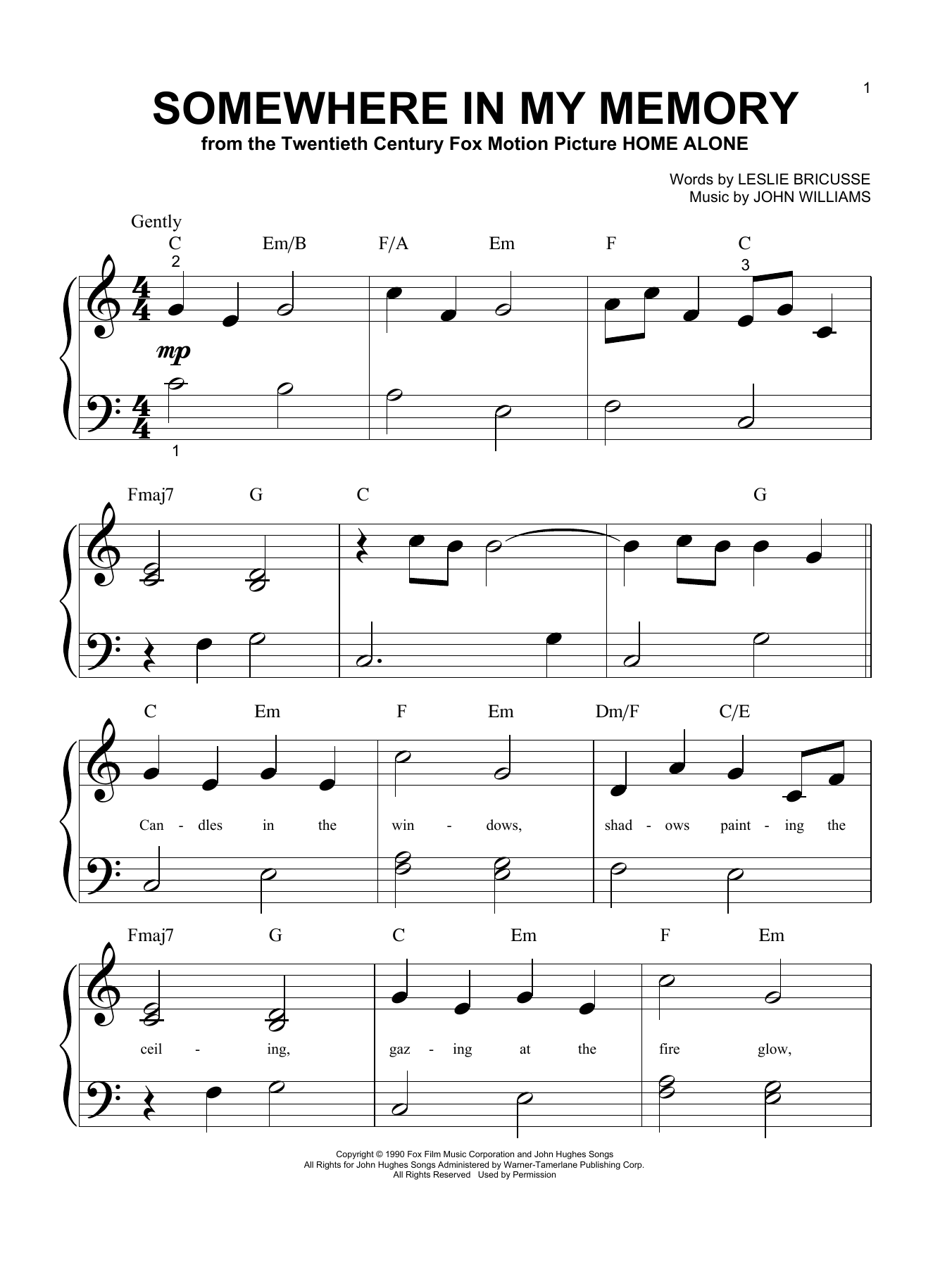 Download John Williams Somewhere In My Memory sheet music and printable PDF score & Film and TV music notes