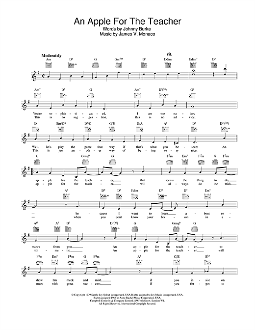 Download Johnny Burke and James V. Monaco An Apple For The Teacher sheet music and printable PDF score & Pop music notes
