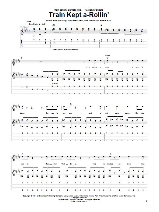 Download Johnny Burnett Train Kept A-Rollin' sheet music and printable PDF score & Metal music notes