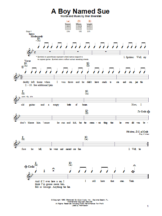 Download Johnny Cash A Boy Named Sue sheet music and printable PDF score & Country music notes