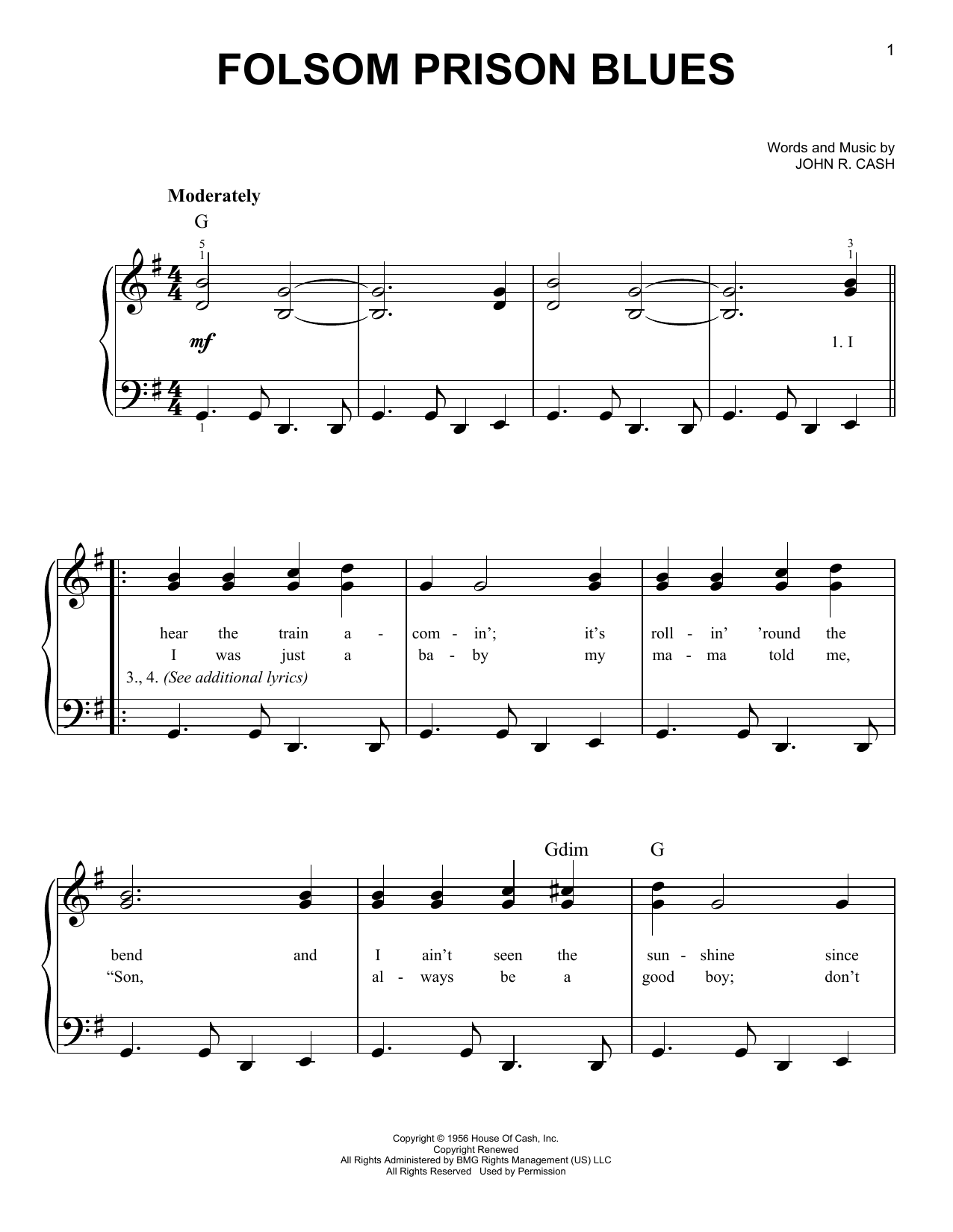 Download Johnny Cash Folsom Prison Blues sheet music and printable PDF score & Country music notes