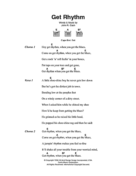 Download Johnny Cash Get Rhythm sheet music and printable PDF score & Country music notes