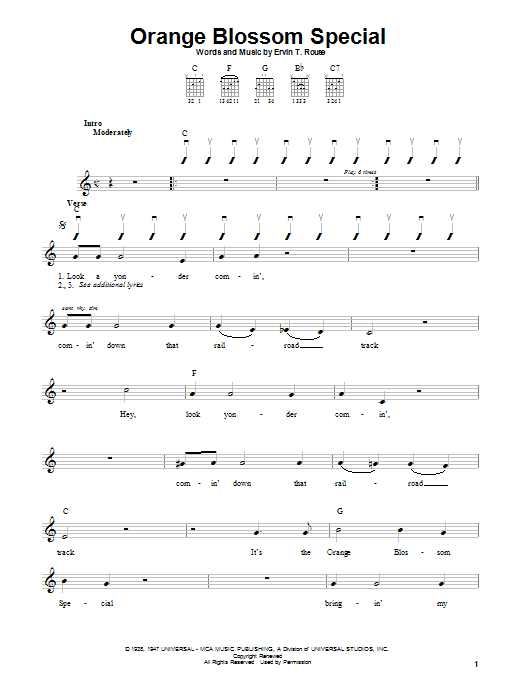 Download Johnny Cash Orange Blossom Special sheet music and printable PDF score & Country music notes