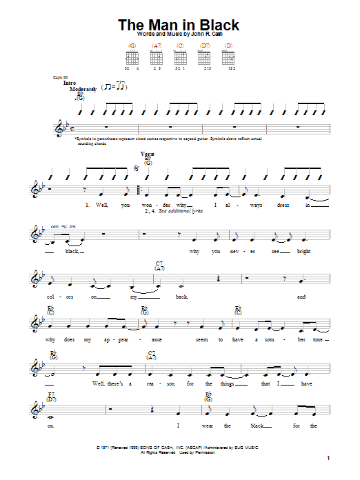Download Johnny Cash The Man In Black sheet music and printable PDF score & Country music notes