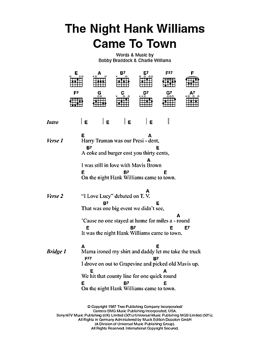 Download Johnny Cash The Night Hank Williams Came To Town sheet music and printable PDF score & Country music notes