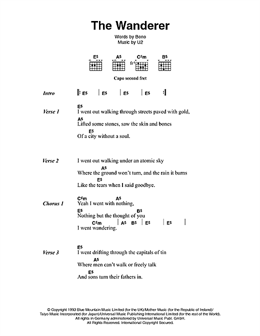 Download U2 & Johnny Cash The Wanderer sheet music and printable PDF score & Country music notes